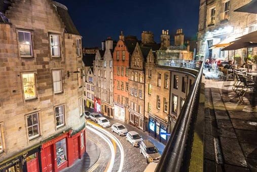 Light trails up the West Bow - Spectacular Edinburgh Photography