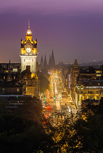 Looking down Princes Street at Night - Spectacular Edinburgh Photography