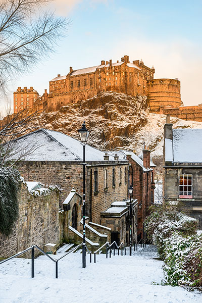 Snowy Vennel at Dawn - Spectacular Edinburgh Photography
