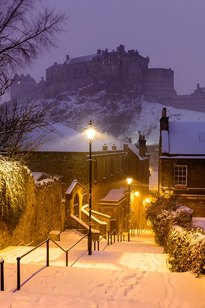 Snowy Vennel at Night - Spectacular Edinburgh Photography