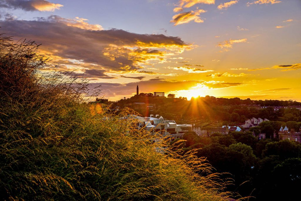 Summer Sunset behind Calton Hill - Spectacular Edinburgh Photography