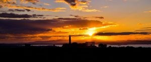 Sunset behind Calton Hill (Wide Angle) - Spectacular Edinburgh Photography