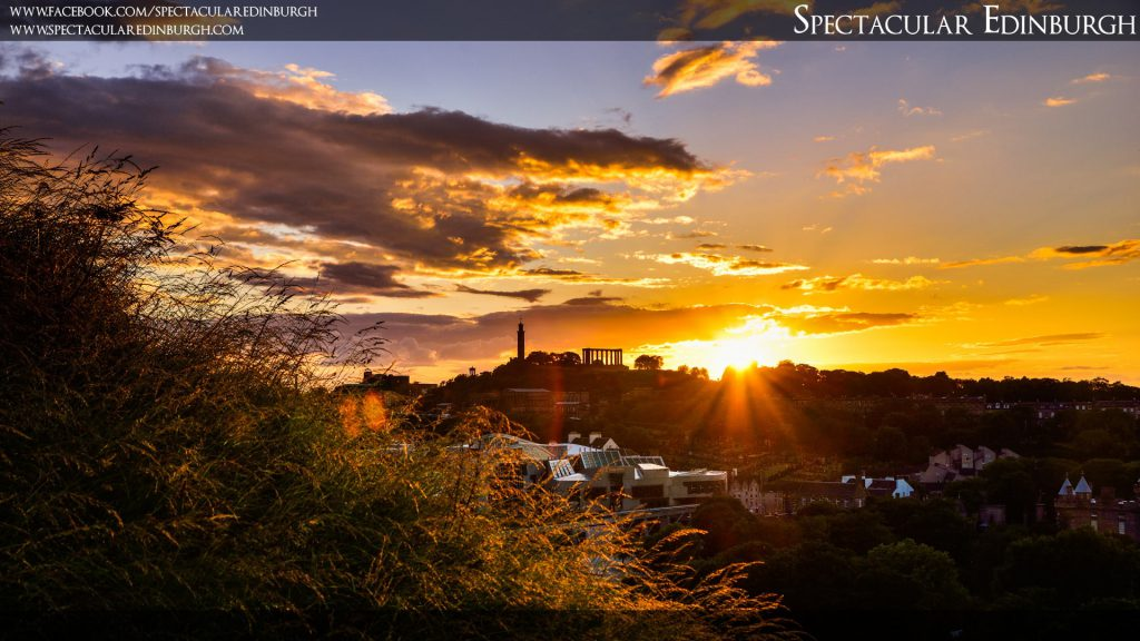 Wallpaper 2 - Summer Sunset behind Calton Hill - Spectacular Edinburgh Photography