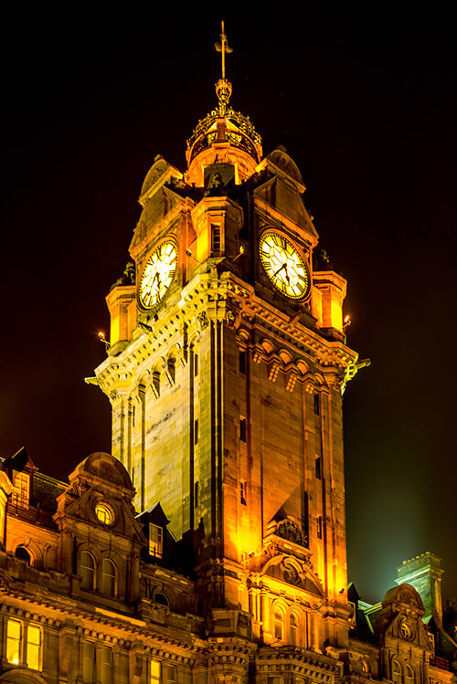 Balmoral Hotel clock tower at night