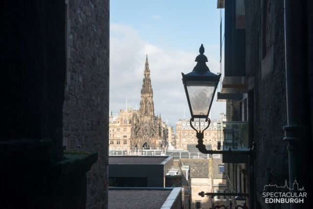 Looking down Advocate's Close (off the Royal Mile) to the Scott Monument, #Edinburgh.  ~~~ Tom 😀